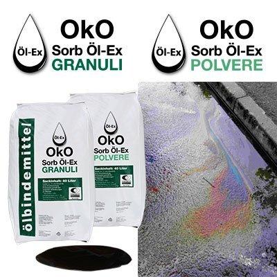 Assorbente in polvere e granuli per oli ed idrocarburi