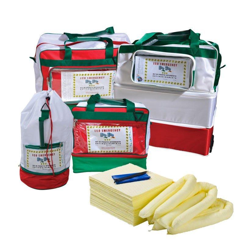 Borse kit pronto intervento antinquinamento per assorbimento chimici