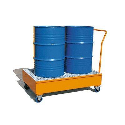 vasca di contenimento carrellata in acciaio per 2 fusti