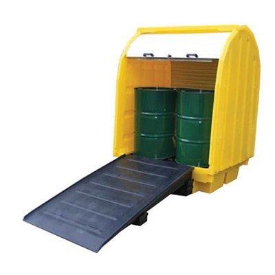 Vasca di contenimento in polietilene con copertura a saracinesca e rampa