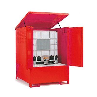 armadio io acciaio con vasca di contenimento per IBC 1000