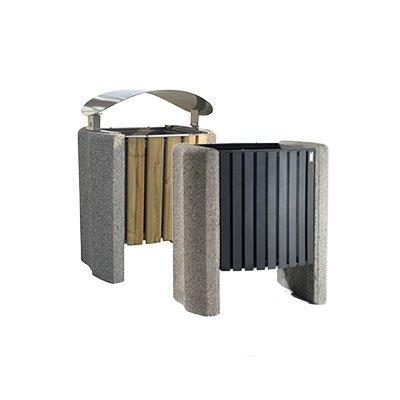cestino con robusta struttura metallica e fianchi calcestruzzo