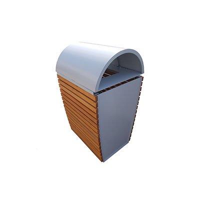 cestone portarifiuti lamiera zincata doghe legno