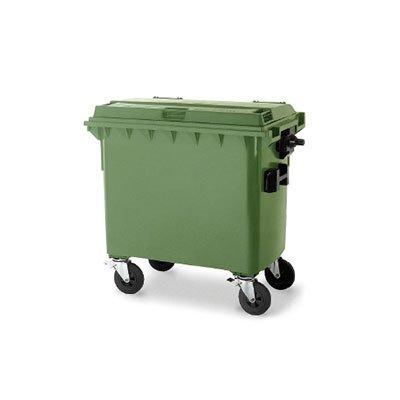 cassonetto polietilene verde con ruote