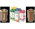 contenitori in cartone colorato per raccolta differenziata