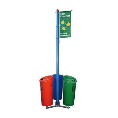 isola ecologica 3 contenitori con bandiera di segnalazione