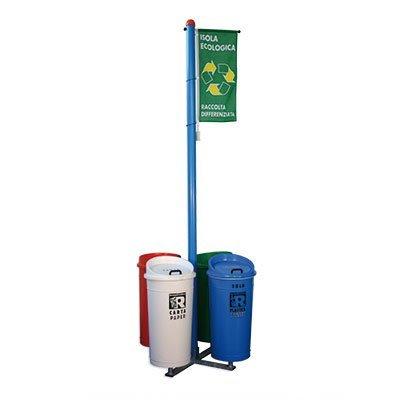 isola ecologica 4 contenitori con bandiera identificativa