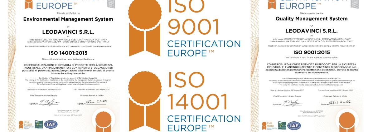 certificazioni ISO 14001 ISO 9001