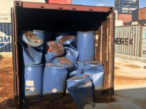 Messa in sicurezza container contenente acidi ad alta concentrazione 1