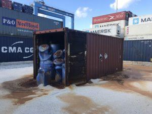 Messa in sicurezza container contenente super acidi
