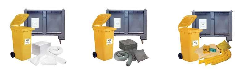 kit di pronto intervento antinquinamento contenitori carrellati - su ruote