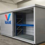 container porte scorrevoli e scaffalatura interna