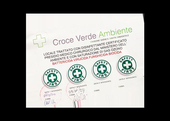 Certificato sanificazione