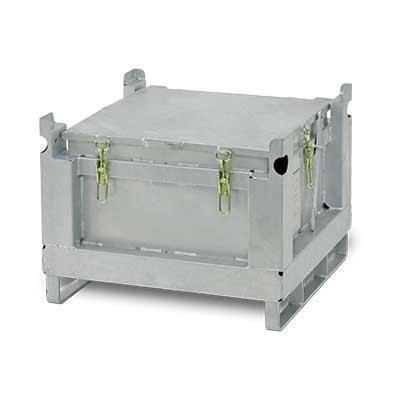 Contenitore di raccolta in acciaio per batterie al litio